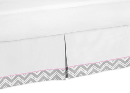 Pink and Gray Chevron Queen Bed Skirt for Childrens Teen Bedding Sets by Sweet Jojo Designs - Click to enlarge