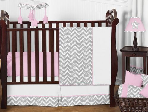 Pink and Gray Chevron Zig Zag Baby Bedding - 11pc Crib Set by Sweet Jojo Designs - Click to enlarge