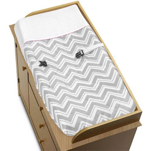 Pink and Gray Chevron Zig Zag Baby Changing Pad Cover by Sweet Jojo Designs - Click to enlarge