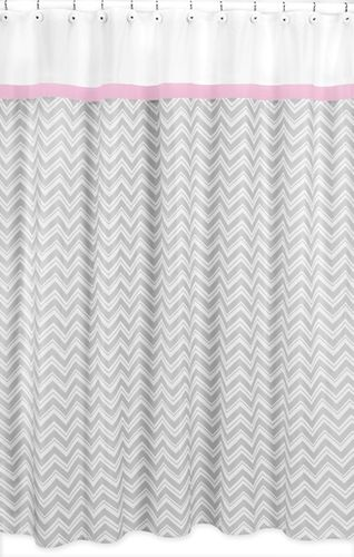 Pink and Gray Chevron Zig Zag Kids Bathroom Fabric Bath Shower Curtain by Sweet Jojo Designs - Click to enlarge