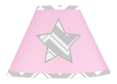 Pink and Gray Chevron Zig Zag Lamp Shade by Sweet Jojo Designs - Click to enlarge