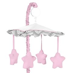 Pink and Gray Chevron Zig Zag Musical Baby Crib Mobile by Sweet Jojo Designs