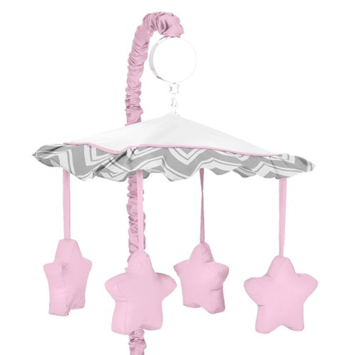 Pink and Gray Chevron Zig Zag Musical Baby Crib Mobile by Sweet Jojo Designs - Click to enlarge