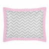 Pink and Gray Chevron Zig Zag Pillow Sham by Sweet Jojo Designs