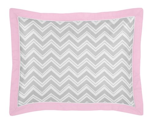 Pink and Gray Chevron Zig Zag Pillow Sham by Sweet Jojo Designs - Click to enlarge
