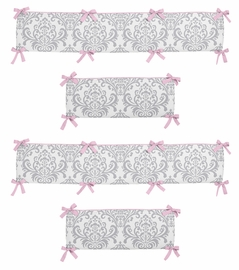 Pink and Gray Elizabeth Collection Crib Bumper by Sweet Jojo Designs