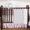 Pink and Gray Kenya Baby Bedding - 4pc Crib Set by Sweet Jojo Designs