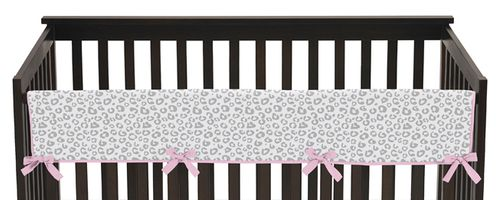 Pink and Gray Kenya Baby Crib Long Rail Guard Cover by Sweet Jojo Designs - Click to enlarge