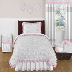 Pink and Gray Kenya Childrens and Kids Bedding - 4pc Twin Set by Sweet Jojo Designs