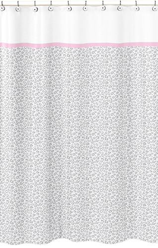 Pink and Gray Kenya Kids Bathroom Fabric Bath Shower Curtain by Sweet Jojo Designs - Click to enlarge