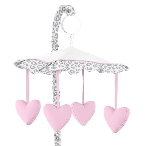 Pink and Gray Kenya Musical Baby Crib Mobile by Sweet Jojo Designs - Click to enlarge