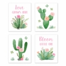 Pink and Green Boho Wall Art Prints Room Decor for Baby, Nursery, and Kids for Watercolor Cactus Floral Collection by Sweet Jojo Designs - Set of 4 - Love Grows Here, Bloom Little One