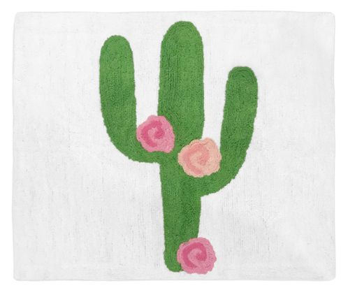 Pink and Green Boho Watercolor Accent Floor Rug or Bath Mat for Cactus Floral Collection by Sweet Jojo Designs - Click to enlarge