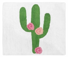 Pink and Green Boho Watercolor Accent Floor Rug or Bath Mat for Cactus Floral Collection by Sweet Jojo Designs
