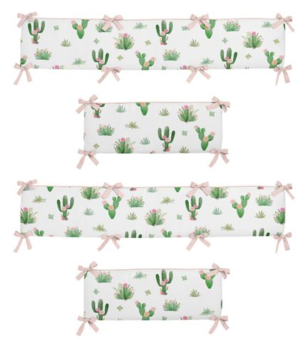 Pink and Green Boho Watercolor Baby Crib Bumper Pad for Cactus Floral Collection by Sweet Jojo Designs - Click to enlarge