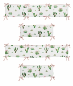Pink and Green Boho Watercolor Baby Crib Bumper Pad for Cactus Floral Collection by Sweet Jojo Designs
