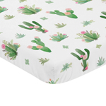 Pink and Green Boho Watercolor Baby Fitted Mini Portable Crib Sheet for Cactus Floral Collection by Sweet Jojo Designs