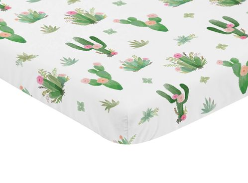 Pink and Green Boho Watercolor Baby Fitted Mini Portable Crib Sheet for Cactus Floral Collection by Sweet Jojo Designs - Click to enlarge