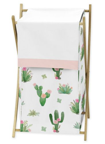 Pink and Green Boho Watercolor Baby Kid Clothes Laundry Hamper for Cactus Floral Collection by Sweet Jojo Designs - Click to enlarge