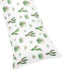 Pink and Green Boho Watercolor Body Pillow Case Cover for Cactus Floral Collection by Sweet Jojo Designs (Pillow Not Included)