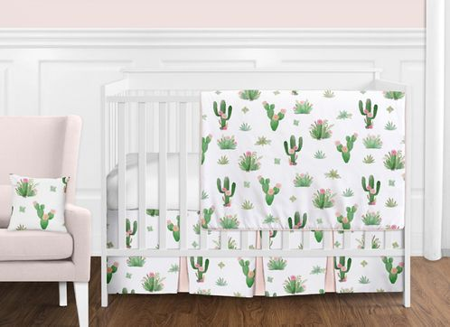 a46d770b13182 Pink and Green Boho Watercolor Cactus Floral Baby Girl Crib Bedding Set  without Bumper by Sweet Jojo Designs 11 pieces