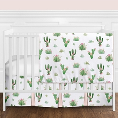 Pink and Green Boho Watercolor Cactus Floral Baby Girl Crib Bedding Set without Bumper by Sweet Jojo Designs - 11 pieces