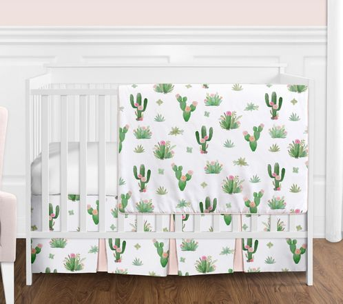Pink And Green Boho Watercolor Cactus Floral Baby Girl Crib Bedding