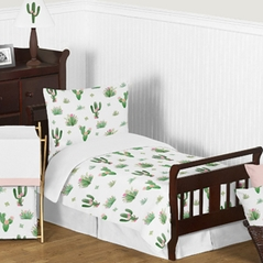Pink and Green Boho Watercolor Cactus Floral Girl Toddler Kid Childrens Bedding Set by Sweet Jojo Designs - 5 pieces Comforter, Sham and Sheets