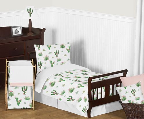 Pink and Green Boho Watercolor Cactus Floral Girl Toddler Kid Childrens Bedding Set by Sweet Jojo Designs - 5 pieces Comforter, Sham and Sheets - Click to enlarge