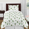 Pink and Green Boho Watercolor Cactus Floral Girl Twin Kid Childrens Bedding Comforter Set by Sweet Jojo Designs - 4 pieces
