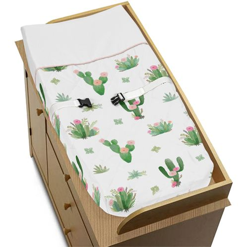 Pink and Green Boho Watercolor Changing Pad Cover for Cactus Floral Collection by Sweet Jojo Designs - Click to enlarge