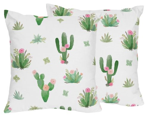 Pink and Green Boho Watercolor Decorative Accent Throw Pillows for Cactus Floral Collection by Sweet Jojo Designs - Set of 2 - Click to enlarge