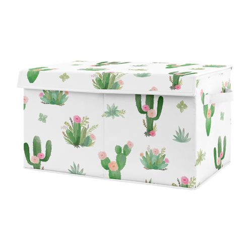 Pink and Green Boho Watercolor Girl Baby Nursery or Kids Room Small Fabric Toy Bin Storage Box Chest for Cactus Floral Collection by Sweet Jojo Designs - Click to enlarge