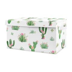 Pink and Green Boho Watercolor Girl Baby Nursery or Kids Room Small Fabric Toy Bin Storage Box Chest for Cactus Floral Collection by Sweet Jojo Designs