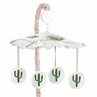 Pink and Green Boho Watercolor Musical Baby Crib Mobile for Cactus Floral Collection by Sweet Jojo Designs