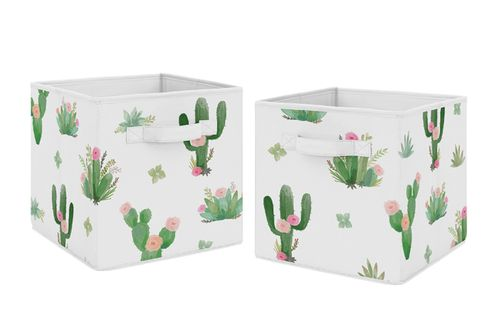 Pink and Green Boho Watercolor Organizer Storage Bins for Cactus Floral Collection by Sweet Jojo Designs - Set of 2 - Click to enlarge