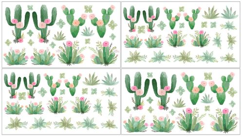 Pink and Green Boho Watercolor Peel and Stick Wall Decal Stickers Art Nursery Decor for Cactus Floral Collection by Sweet Jojo Designs - Set of 4 Sheets - Click to enlarge