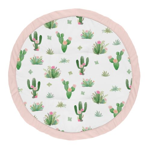 Pink and Green Boho Watercolor Playmat Tummy Time Baby and Infant Play Mat for Cactus Floral Collection by Sweet Jojo Designs - Click to enlarge