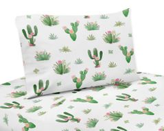Pink and Green Boho Watercolor Twin Sheet Set for Cactus Floral Collection by Sweet Jojo Designs - 3 piece set