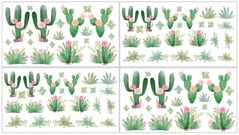 Pink and Green Boho Watercolor Peel and Stick Wall Decal Stickers Art Nursery Decor for Cactus Floral Collection by Sweet Jojo Designs - Set of 4 Sheets