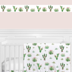 Pink and Green Boho Watercolor Wallpaper Wall Border for Cactus Floral Collection by Sweet Jojo Designs