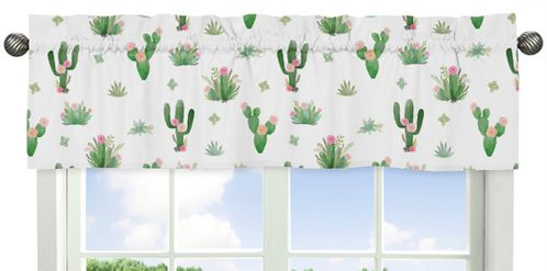 Pink and Green Boho Watercolor Window Treatment Valance for Cactus Floral Collection by Sweet Jojo Designs - Click to enlarge