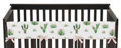 Pink and Green Cactus Floral Long Front Crib Rail Guard Baby Teething Cover Protector Wrap Boho Watercolor for Collection by Sweet Jojo Designs