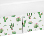 Pink and Green Cactus Floral Pleated Queen Bed Skirt Dust Ruffle Boho Watercolor for Collection by Sweet Jojo Designs