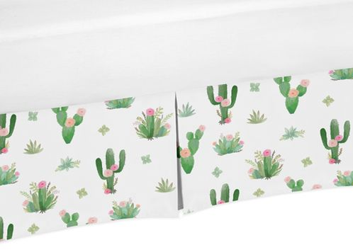 Pink and Green Cactus Floral Pleated Queen Bed Skirt Dust Ruffle Boho Watercolor for Collection by Sweet Jojo Designs - Click to enlarge