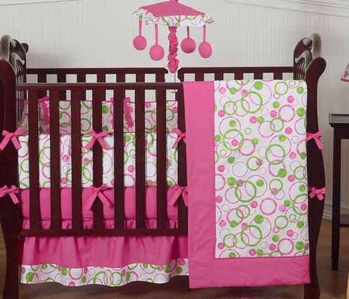 Pink and Green Circles Modern Baby Bedding - 9 pc Crib Set - Click to enlarge