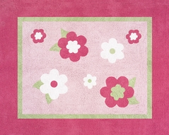 Pink and Green Flower Accent Floor Rug