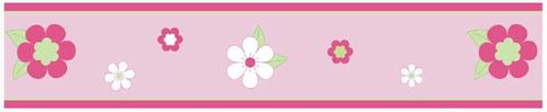 Pink and Green Flower Baby and Childrens Wall Border by Sweet Jojo Designs - Click to enlarge