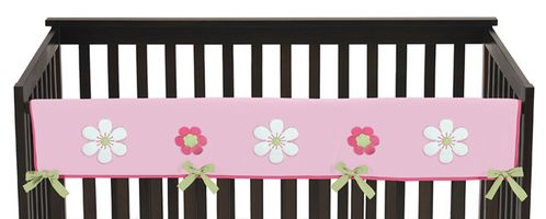 Pink and Green Flower Baby Crib Long Rail Guard Cover by Sweet Jojo Designs - Click to enlarge
