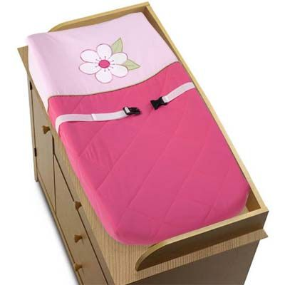 Pink and Green Flower Changing Pad Cover - Click to enlarge